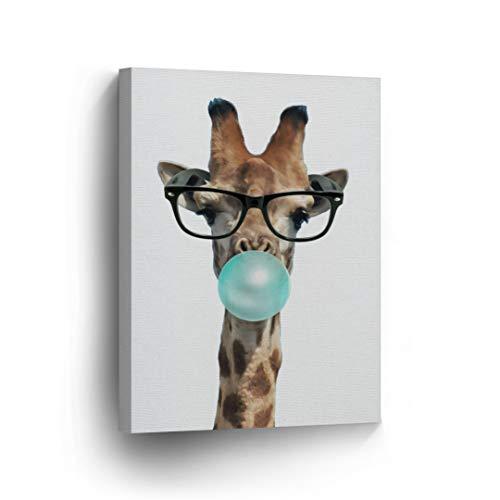 Cute Giraffe with Sunglasses Animal Bubble Gum Art Teal Blue