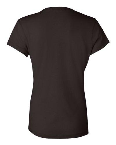 Ladies' Short Sleeve Jersey V-Neck T-Shirt, Color: Chocolate, Size: Medium