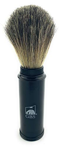"""GBS 100% Genuine Badger Hair Travel Shaving Brush 5.5"""" Tall w/Black Metal Canister Compliments Any Shave Soap for Ultimate Wet Shaving Experience. for on The-go Fathers Businessman boss Great Gift from G.B.S"""