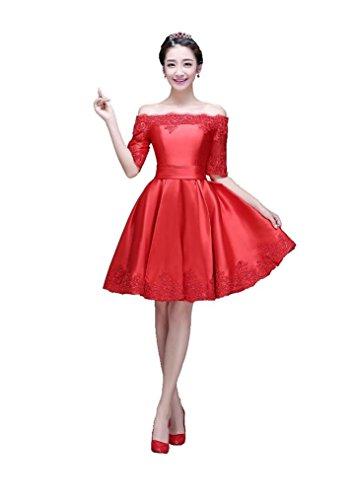 Mini Rüschen Boot Hülsen Tunnelzug Beauty Kleid Partei Rot A Emily Kurz halbe Linie Ausschnitt twqxxRaI