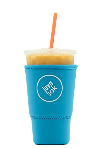 (Java Sok Reusable Iced Coffee Sleeve – Cup Insulator Sleeve for Cold Beverages and Neoprene Cup Holder | Ideal for Starbucks Coffee, McDonalds, Dunkin Donuts, More (32 oz Large, Light)