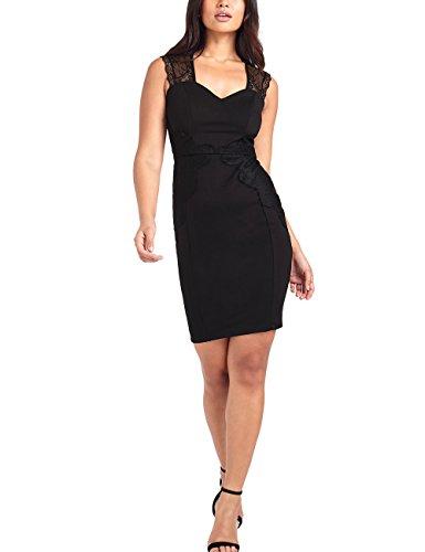 Damen mit Etuikleid Schwarz Kleid durchgehender Spitze Figurbetontes Lipsy RwdUqtnxOO