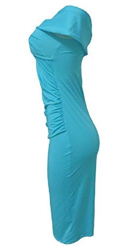 Jaycargogo Épaule Off Sexy Ruché Bodycon Club Midi Féminin Robe Bleu Clair