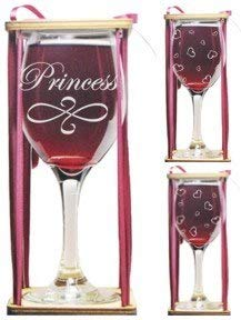 Princess 360 Degree Engraved Wine Glass with Charm