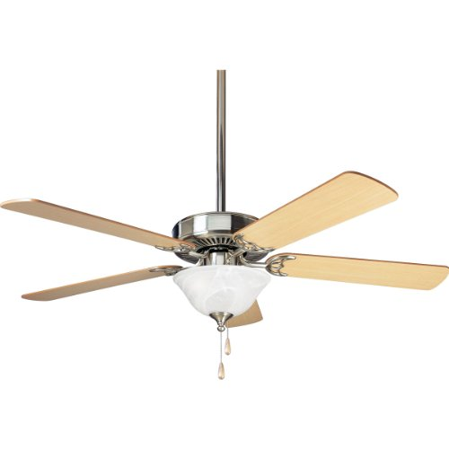 (Progress Lighting P2522-09 52-Inch 5-Blade Fan with 3-Speed Reversible Motor and Cherry/Natural Cherry Blades with Alabaster Glass Bowl, Brushed Nickel)