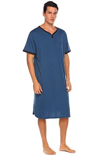 5936a36410f Ekouaer Men s Long Sleep Shirt Short Sleeve Nightshirt Nigt Shirt (Blue