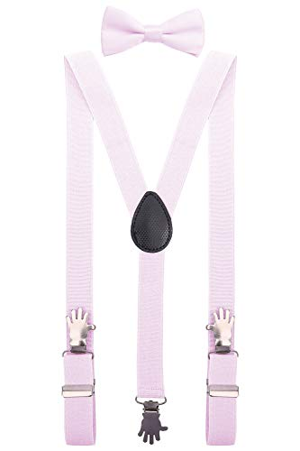 Pink Bow 24' (YJDS Baby Bow Tie and Suspenders Set Adjustable with Hand Clips Baby Pink 24'')
