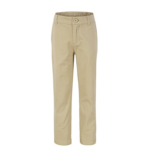 Bienzoe Big Boy's School Uniforms Flat Front Adjust Waist Pants Slim fit,Khaki,16 ()