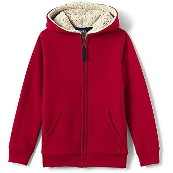 a6cf21136 Amazon.com: Lands' End Boys Sherpa Lined Hoodie, XL, Rich Red: Clothing