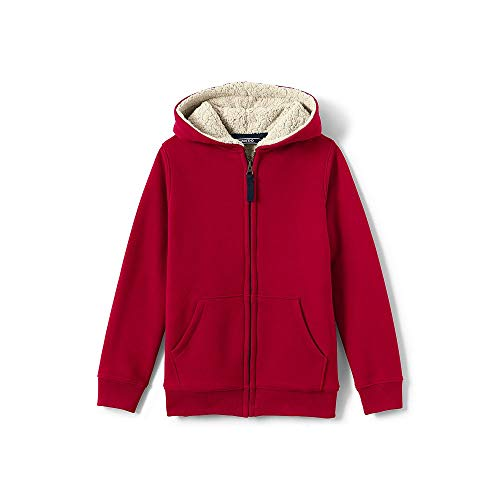 Lands' End Boys Sherpa Lined Hoodie, L, Rich Red (Red Classic Hoody Sweatshirt)