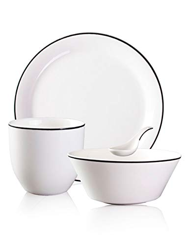 Bone Ceramic Tableware Set Simple Home Set Table Club Hall Hotel Dish Four-piece Suit Set Pure White