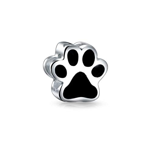 Black Shape Paw Print Dog Cat Puppy Kitten Bff Pet Lover Charm Bead For Women Teen 925 Silver Fits European Bracelet ()