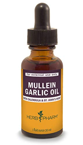 Herb Pharm Mullein Garlic Herbal Oil - 1 Ounce (Mullein Flower Oil Alcohol)