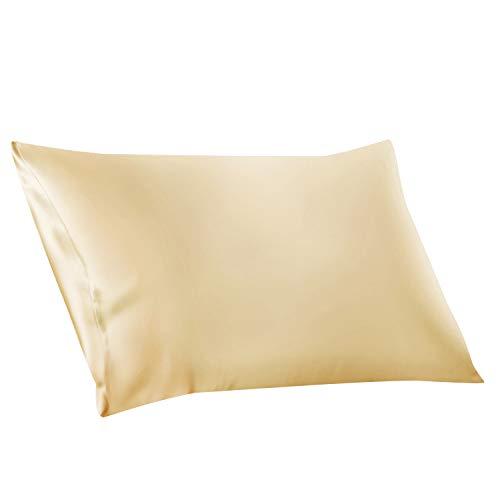 ElleSilk Silk Pillowcase, 22 Momme 100% Mulberry Silk, Anti Sleep Crease, Queen, Cream, 1pc
