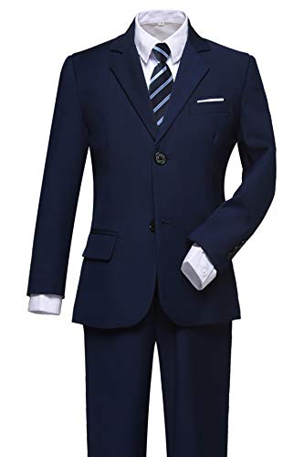 Visaccy Suit for Boys 5 Pieces Kids Tuxedo Toddler Slim Fit Suits Outfit for Wedding Navy Blue Size -