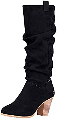 Puimentiua Womens Pointed Toe Slouchy Block Heel Knee High Boots Mid Heel Mid Calf Suede Slip On Casual Bootie