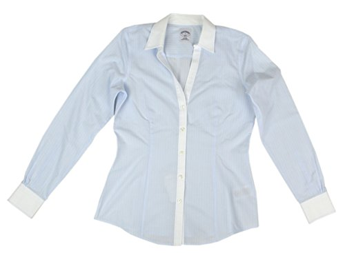 Brooks Brothers Women's Striped All Cotton Non-Iron Button Down Shirt Blue/White (10) (Brooks Brothers Womens Shirts)