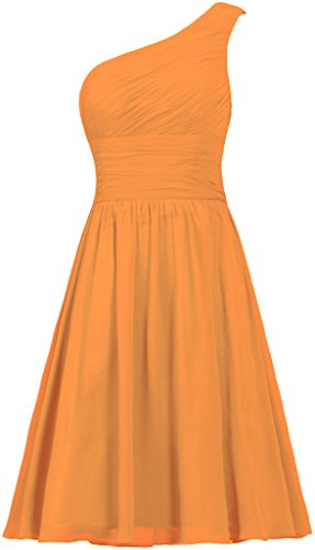 ANTS Women's Chiffon One Shoulder Bridesmaid Dresses Short Evening Dress Size 18W US Orange