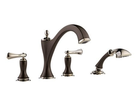 Brizo T67485-PNCOLHP Charlotte Roman Tub With Hand Shower Trim, Less Handles, Cocoa Bronze and Polished Nickel (Brizo Charlotte Faucet compare prices)