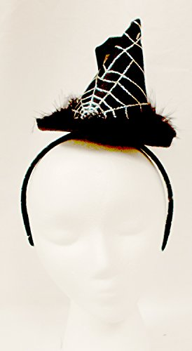 (Black Witch Hat Silver Glitter Spiderweb Marabou Halloween Headband Costume Accessory NWT by K-mart)