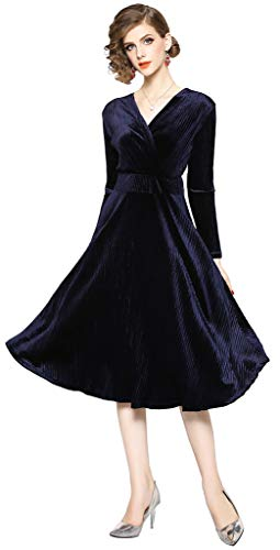 Ababalaya Women's Retro 90s Faux Wrap Empire Long Sleeve A-Line Velvet Formal Evening Dress,Navy Blue,Tag S = US Size 0
