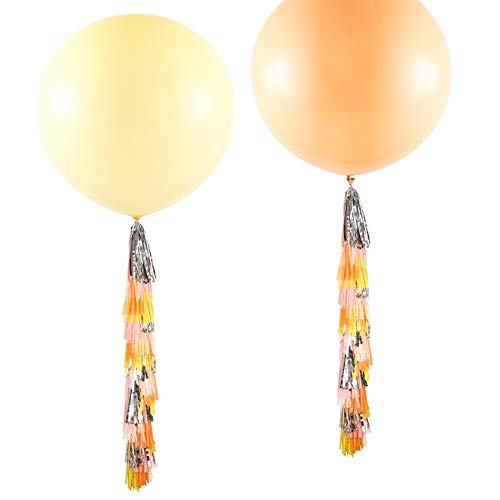 Fonder Mols 2 Pcs 36'' Yellow and Nude Jumbo Balloons with Tassels Garland for Baby Shower, Girl Birthday, Wedding Party Decoration, Photobooth, Backdrop, Balloon Arch ()