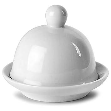 Luz de la luna embellecedor redondo para cubrir plato para mantequilla con tapa 9 x 6,5 cm | Con tapa para mantequilla Pat: Amazon.es: Hogar