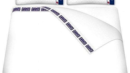 Licensed NFL New York Giants White Full Size Bed Sheets ONLY (Nfl Sports Coverage Comforter)