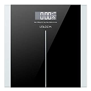 LEADZM Digital Body Weight Bathroom Scale With Step-On Technology, 400 Lb Slim Waist Pattern Personal Scale, Black