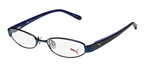 Puma 15357 Pico Mens/Womens Cat Eye Spring Hinges Classic Shape Durable TIGHT-FIT Designed For Jogging/Cycling/Sports Activities Eyeglasses/Eyeglass Frame (48-16-135, Blue/Purple) (Blue Cat Eye Brille)