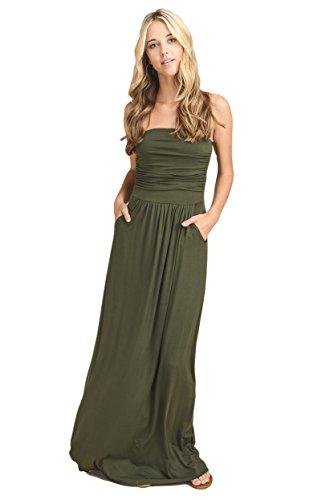 (Vanilla Bay Solid Maxi Dress,Large,Olive)