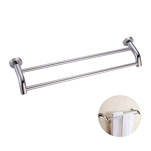 Towel Bar Rail Wall Mount,Bathroom Double Towel Hanging Storage Rack Stainless Steel Shelf for Home Washroom Toilet Kitchen Hotel Villa - 40 * 15cm ()