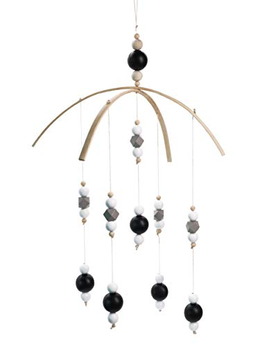 Baby Crib Mobile - 100% Wooden Beads for Your Boy or Girl Babies Bed Room - Designer Colors to Match Your Nursery and Delight Your Child (23.59In, Stars)