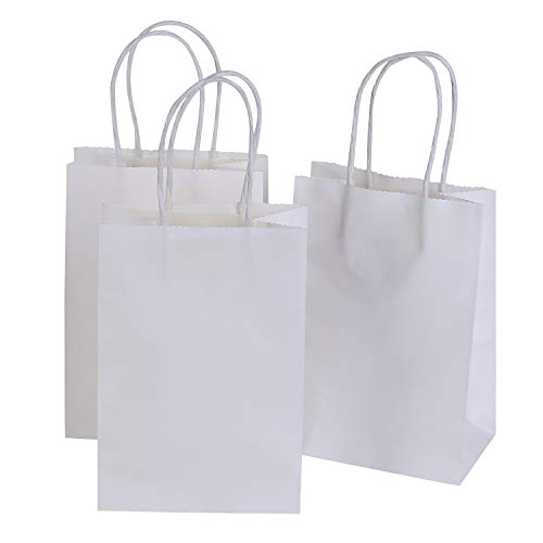 Road 5.25 x 3.75 x 8 Inches Small Kraft White Paper Bags with Handles, Shopping, Grocery, Mechandise, Party Bags (100pc) by Road
