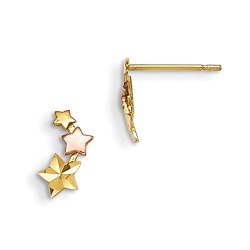 madi (14ct 14K Or jaune et rose étoile pour enfant en toile Boucles d'oreilles