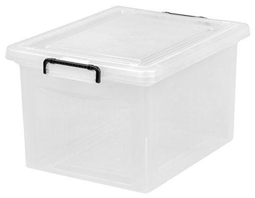IRIS Letter and Legal Size File Box with Buckle, Clear (Hanging File Storage)