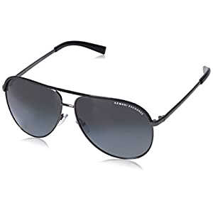 Armani Exchange Metal Unisex Polarized Aviator Sunglasses, Gunmetal/Black, 61 mm
