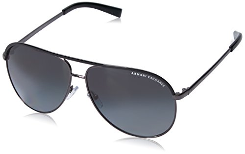 Armani Exchange Metal Unisex Polarized Aviator Sunglasses, Gunmetal/Black, 61 - Armani Sunglasses Mens