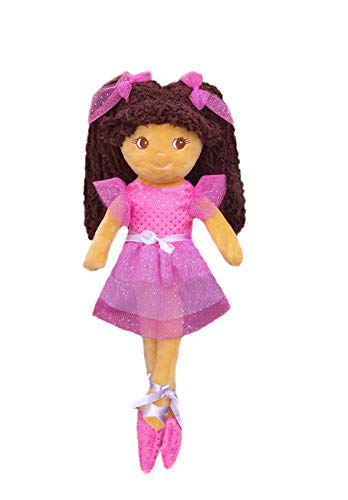 "girlzndollz 600576 Elana Multicolor Ballerina Doll - tan Skin, 14"", Pink, Purple"