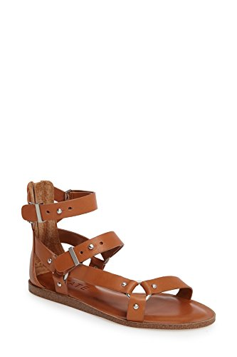 1.STATE Channdra Tan Leather Studded Strappy Flat Gladiator Buckle Sandals (9.5)