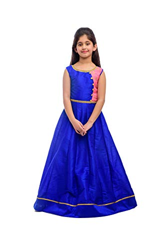 K&U Girls' Blue and Pink Taffeta Raw Silk Kalidar Anarkali Kurta