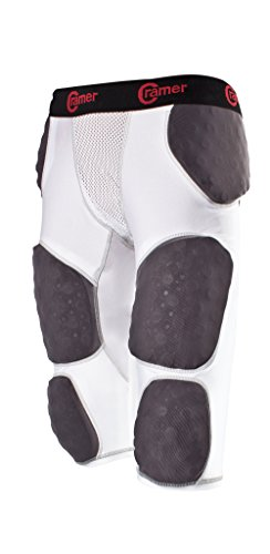 Cramer Thunder 7 Pad Football Girdle With Integrated Hip, Thigh and Tailbone Pads, Designed for Protection from High Impacts, High Hip Pad Coverage, Extra Thigh Protection Padding, White, Large