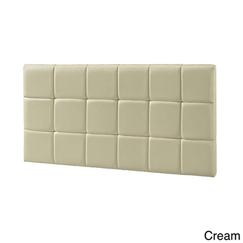 LYKE Home Faux Leather Twin-size Wall Mounted Headboard Cream (Cream Leather Headboard)