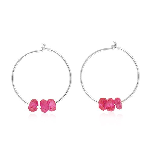 18K White Gold Natural Ruby Beads Dainty Huggie Hoop Earrings for Women (12 mm diameter)