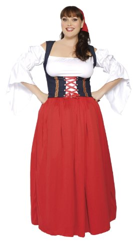 Roma Costume 4 Piece Swiss Miss Costume, Red/White, XX-Large -