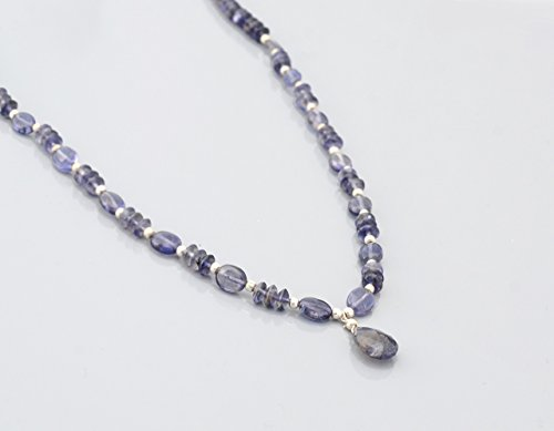 - Natural Iolite Beaded Necklace Strand finished with Sterling Silver findings 16