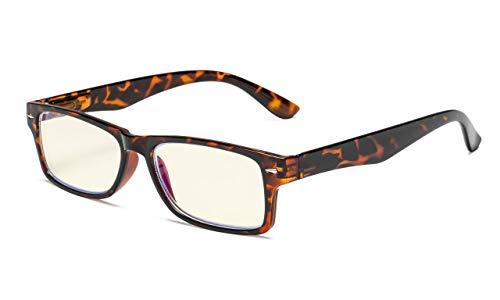 Eyekepper Computer Readers UV Protection, Anti Glare, Anti Blue Rays Reading Glasses (Tortoise/Light Yellow Tinted Lens) +1.00
