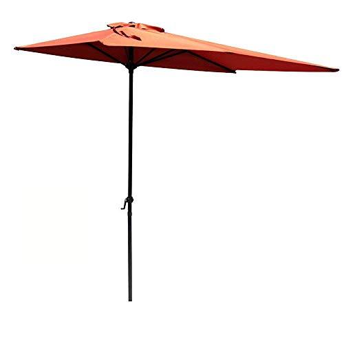 COBANA Half 7.5'by 4' Rectangular Outdoor Umbrella for Patio,Balcony,Garden,Deck, Brick Red