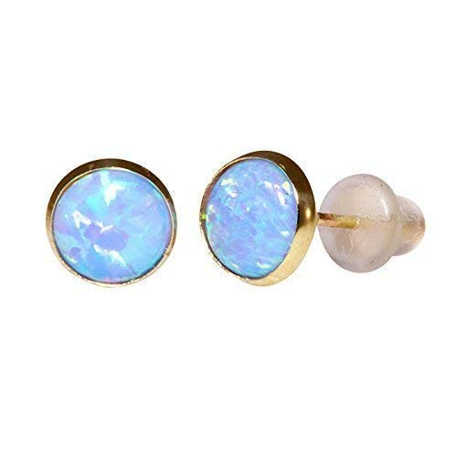 8d2ddca2f6029 14K Gold Blue Opal Stud Earrings - 14K Solid Yellow Gold Dainty Studs, 6mm  October Birthstone Small Cute Opal Jewelry - Simple Handmade Gift for Girls  ...