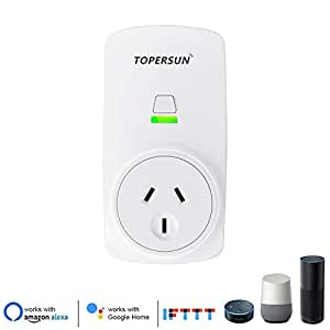 TOPERSUN WiFi Smart Socket Outlet Plug Enabled Electrical Power Switch App Control from Anywhere Remote Control Outlet with Timing Function Compatible with Amazon Alexa Echo and Google Home IFTTT